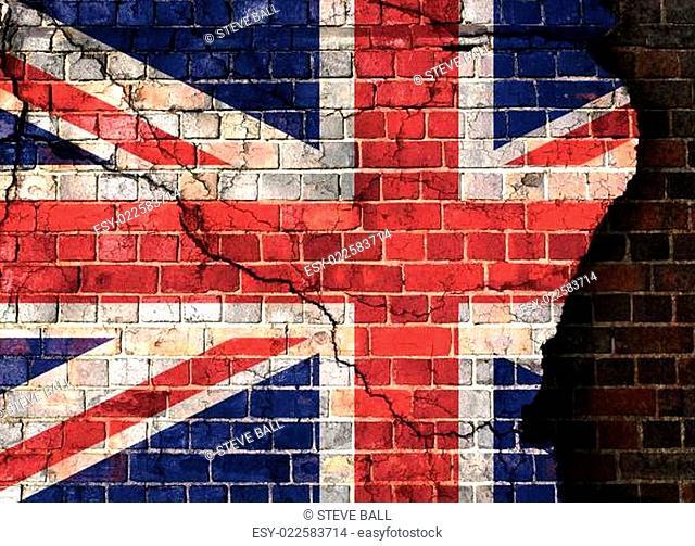 UK flag on a cracked brick wall