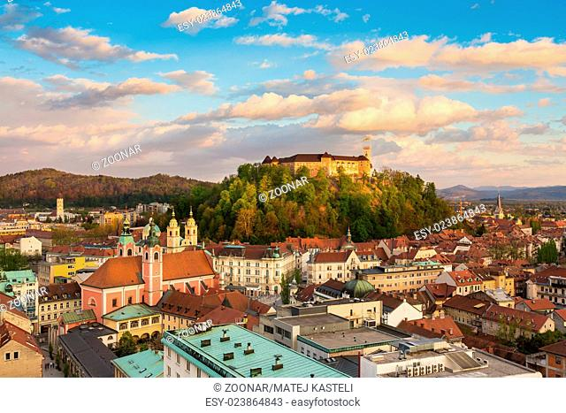 Panorama of Ljubljana, Slovenia, Europe