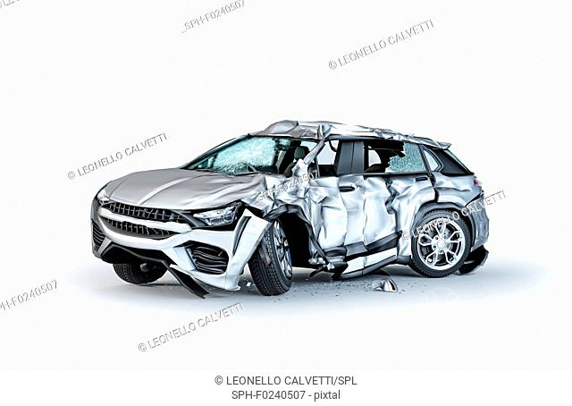Single car crashed. Silver sedan heavily damaged on a side. Isolated on white background. Perspective view