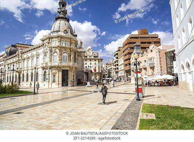 Street view, square, Plaza Heroes de Cavite, historic center and touristic point city,Cartagena,Spain