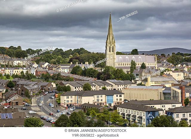 St Eugene's Cathedral and town of Londonderry/Derry, County Derry, Northern Ireland, UK