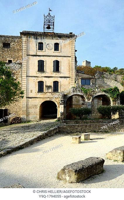 Clock Tower and Village Square Oppède-le-Vieux in the Luberon Provence France