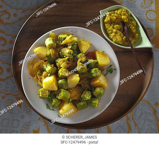 Okra with potatoes and daal (Nepalese dinner)