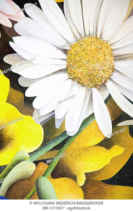 Colorful flowers dance in acrylic paint, artist Gerhard Kraus, Kriftel, Germany