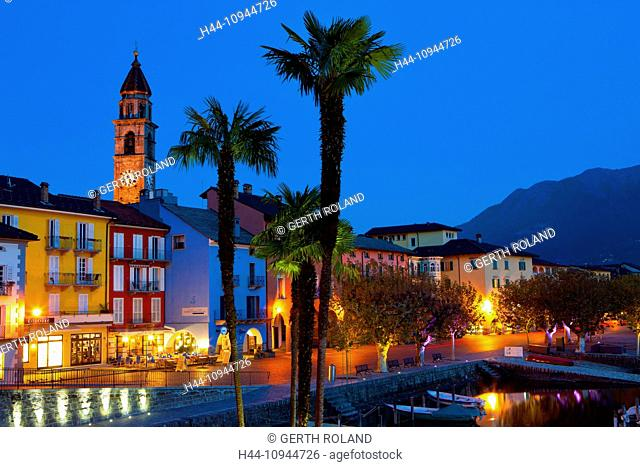 Ascona, Switzerland, Europe, canton, Ticino, Lago Maggiore, houses, homes, harbour, port, boats, church, bank promenade, dusk, evening, lighting, palms