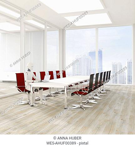 Robot using laptop in conference room, 3d rendering