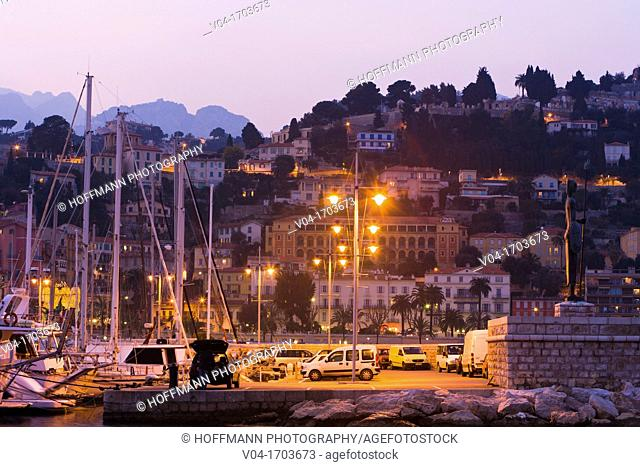Harbor in Menton at dusk, Provence, France, Europe