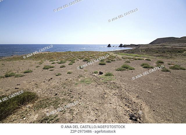 Volcanic landscape coast in Cabo de Gata natural park, Almeria, Andalusia, Spain