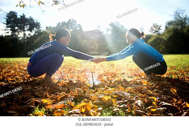 Two women doing yoga in park on autumn day