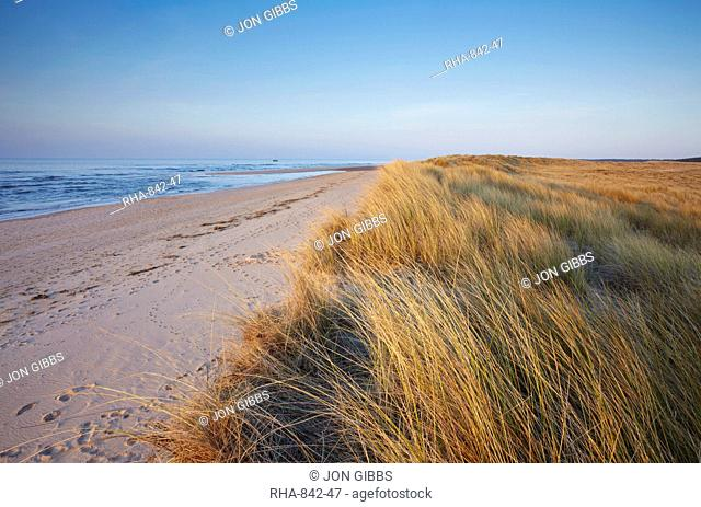 A sunny spring evening at Holkham Bay on the North Norfolk coast, Norfolk, England, United Kingdom, Europe