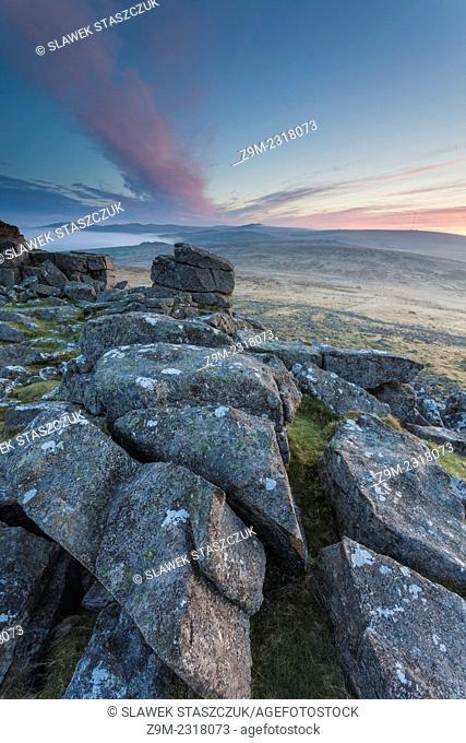 Dawn at Sharpitor near Dousland. Dartmoor National Park, Devon, England, United Kingdom