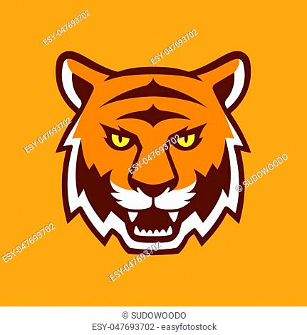 Tiger head illustration, sport mascot or team logo. Traditional comic cartoon style