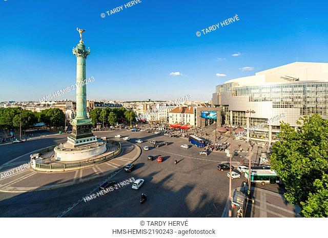 France, Paris, the Place de la Bastille, The Opera and the Colonne de Juillet (aerial view)