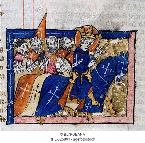 King leading crusaders, Miniature only King leading crusaders Image taken from Abreviamen de las Estorias. Originally published/produced in France