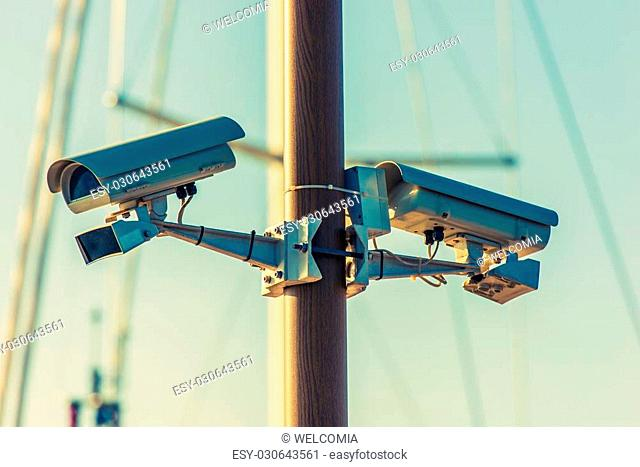 CCTV Security Cameras on the Pole. Public Places Surveillance Cameras