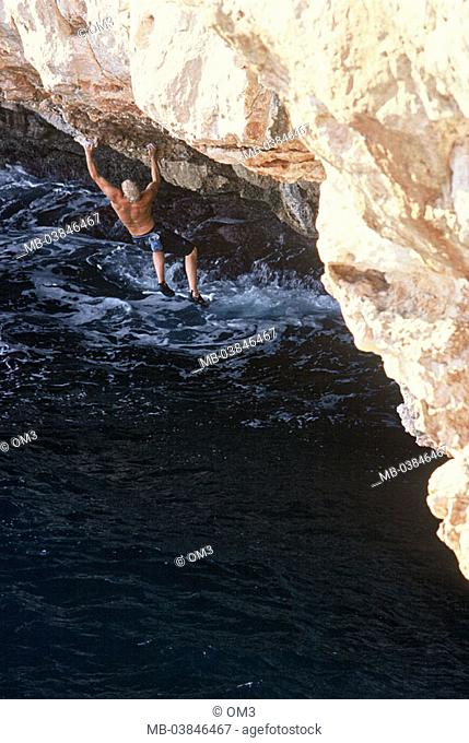 Torsten Eide, pro-climbers, personality-rights, Spain, climbers heed island Majorca Balearen, Mediterranean, rock-coast back-opinion sea, series, surf, waves