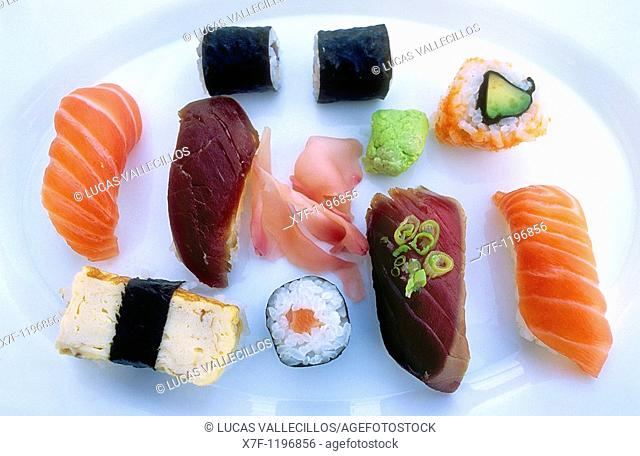 Sushi and maki Tokyo city, Japan, Asia
