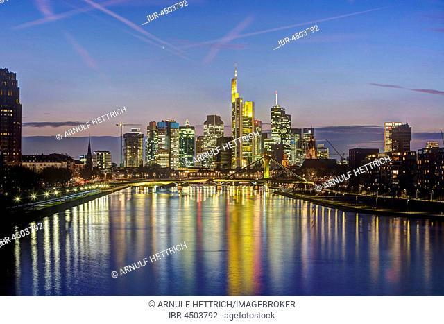 Skyline Financial District, dusk, Frankfurt on the Main, Hesse, Germany