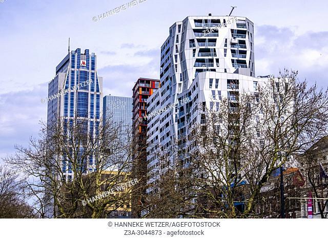 Architecture of the Kruiskade in Rotterdam, the Netherlands