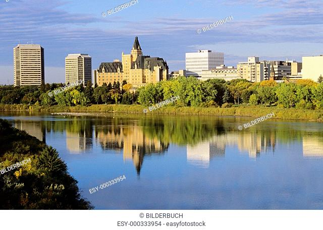 Downtown Saskatoon reflected in the South Saskatchewan river