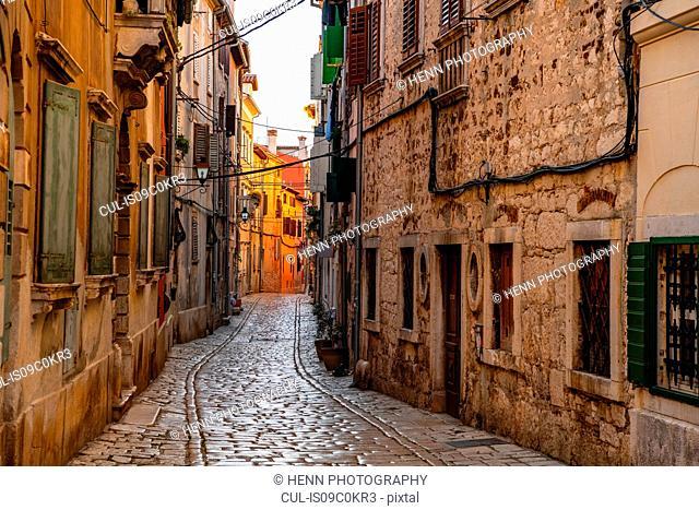 Empty narrow cobblestone street, Rovinj, Croatia