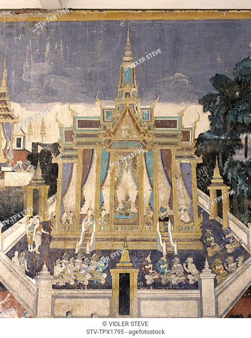 Cambodia, Asia, Depicting, Holiday, Landmark, Mural, Phnom penh, Ramayana, Royal pavilion, Story, Tourism, Travel, Vacation, Wal