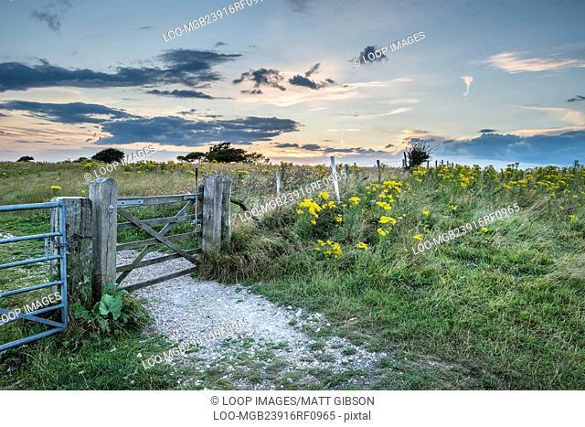 Beautiful sunset landscape image over English rolling countryside