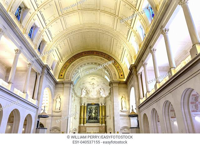 Basilica of Lady of Rosary Fatima Portugal. Church created on site where three Portuguese Shepherd children saw Virgin Mary of the Rosary