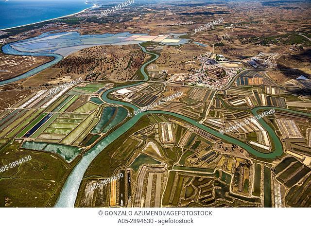 Sapal de Castro Marim and Vila Real de Santo Antonio Natural Reserve. On the right Castro Marim. Faro district. Algarve. Portugal