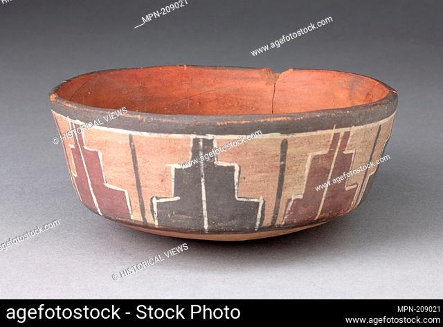 Bowl with Repeated Stepped Motif - 180 B.C./A.D. 500 - Nazca South coast, Peru - Artist: Nazca, Origin: Peru, Date: 180 BC–500 AD, Medium: Ceramic and pigment