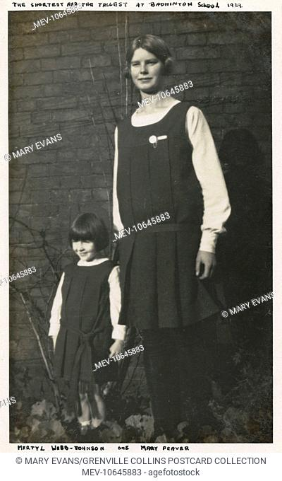 The tallest and shortest pupils at Badminton School - an Independent Girls school near Bristol. Pictured are Mertyl Webb-Johnson (the shorter) and Mary Feaver...