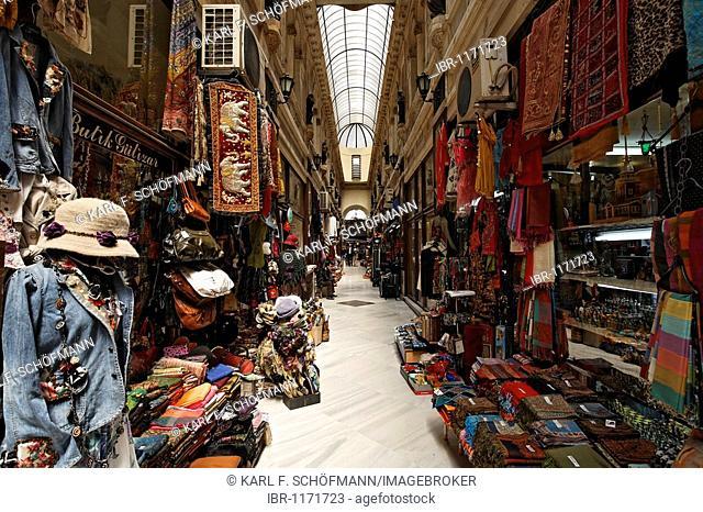 Shops in the historic Avrupa Passage shopping arcade, Istiklal Caddesi, Independence Street, Beyoglu, Istanbul, Turkey