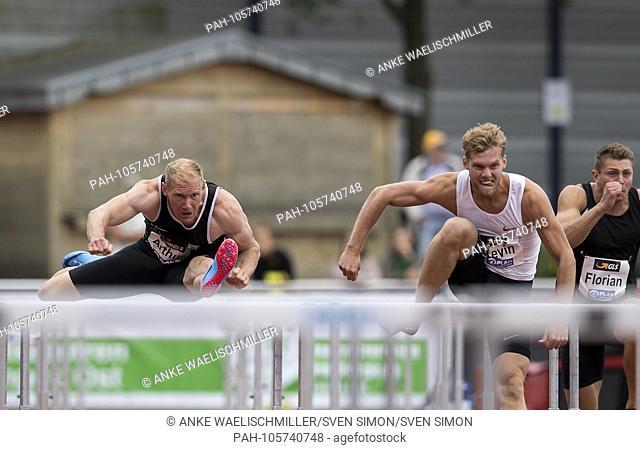 left to right Arthur ABELE (GER / SSV Ulm 1846), Kevin MAYER (FRA), action, 110m hurdles of men, on 17.06.2018 Athletics Stadtwerke Ratingen All-around meeting