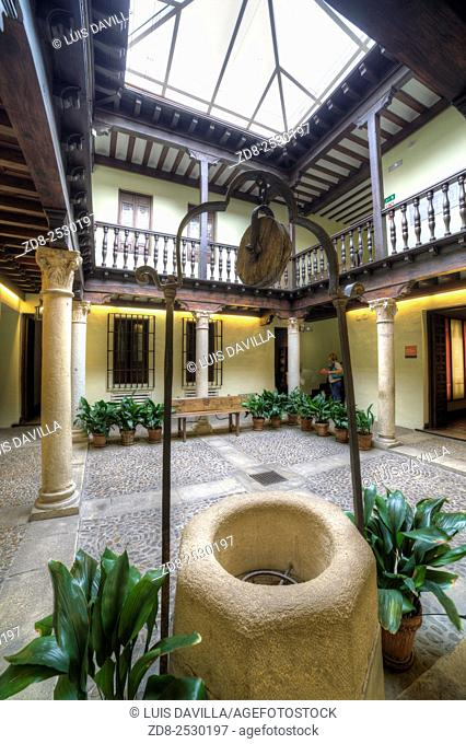 courtyard of Cervantes writer birth house-museum. alcala de henares. Spain. It is a monographic museum placed in Calle Mayor