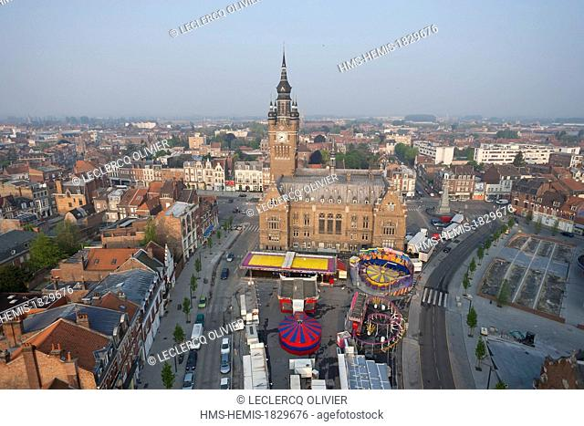 France, Nord, Armentieres, Belfry of the City Hall, listed as World Heritage by UNESCO (aerial view)