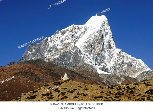 Taboche Peak seen from the village of Dingboche in the Everest Region of Nepal