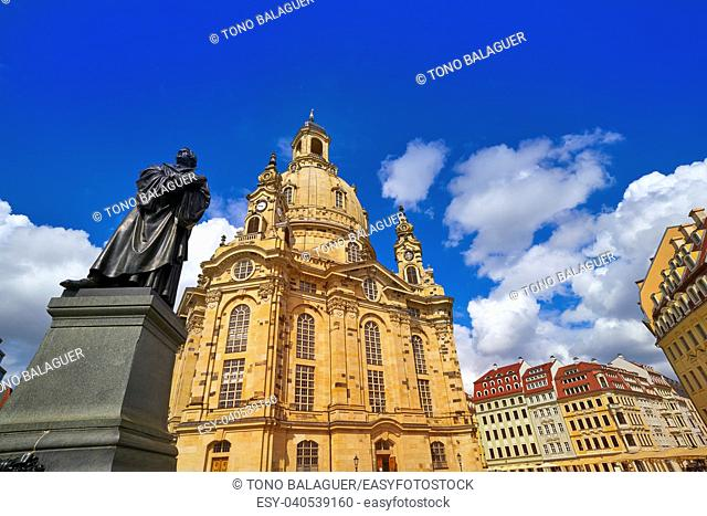 Martin Luther memorial and Frauenkirche church in Dresden Germany