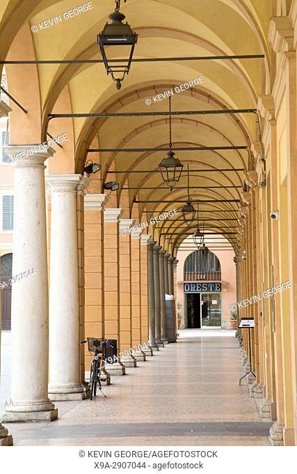 Portico in Modena, Piazza Roma Square, Italy