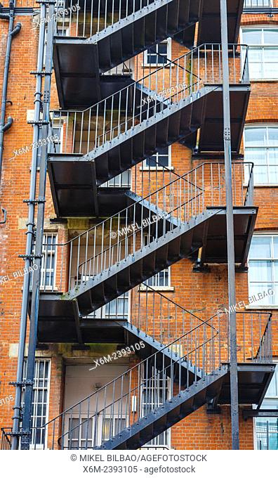 Fire escape in a edifice. London, England, United kingdom, Europe