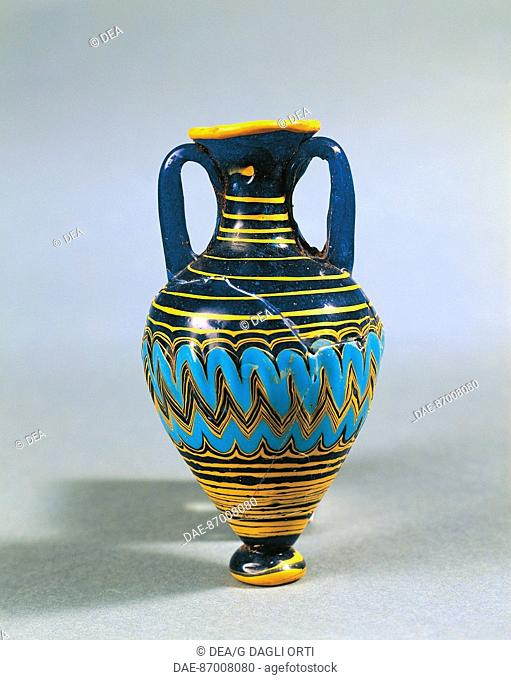 ART OF THE MAGNA GRECIA CALABRIA VASE BOUQUET glass paste from the Necropolis GREEK PALACE STREET  Vibo Valentia, Castello Normanno Svevo