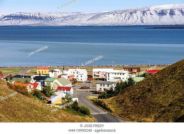 The small town Saudarkrokur in the fjord Skagafjördur in north Iceland