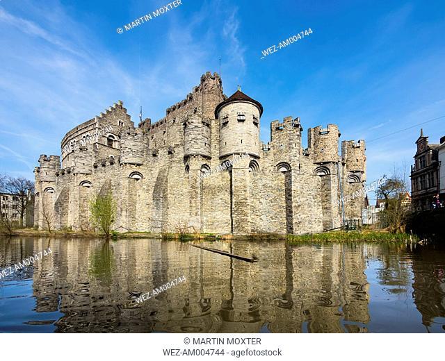 Belgium, Ghent, Old Town, Gravensteen Castle, River Leie