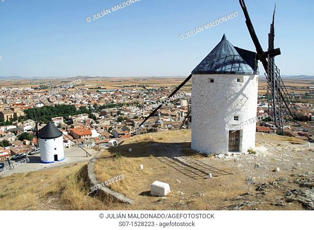 Mills and background population Consuegra Consuegra, Toledo, Castilla La Mancha, Spain