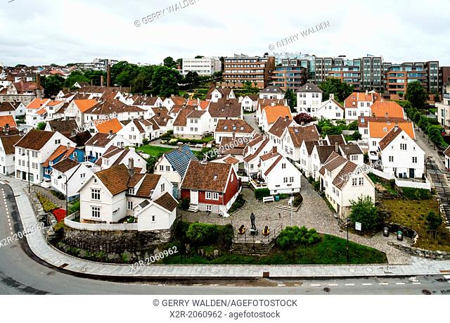 Old white clapboard houses in the older part of Stavanger, Norway