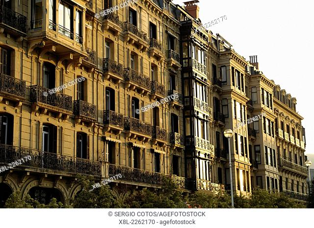 Buildings in Reina Regente street in San Sebastian, Basque Country, Spain