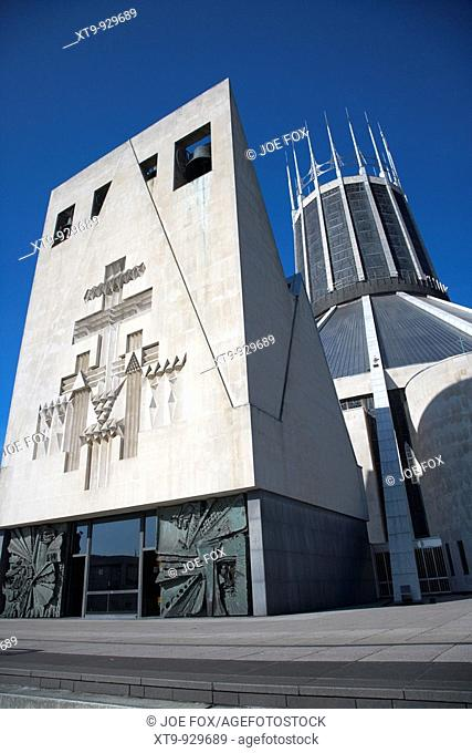 front of Liverpools metropolitan catholic cathedral of christ the king merseyside england uk