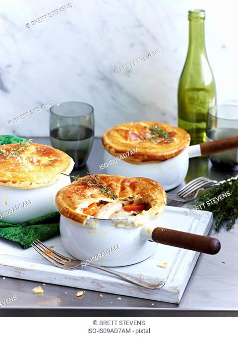Chicken pot pies with pastry crust