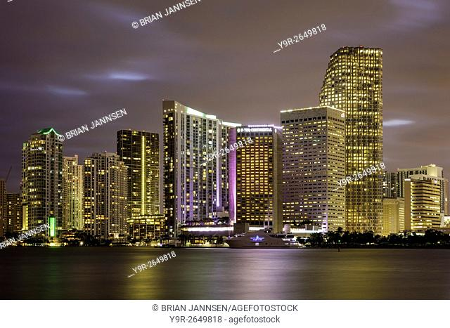 Evening twilight over Miami Skyline, Miami, Florida, USA