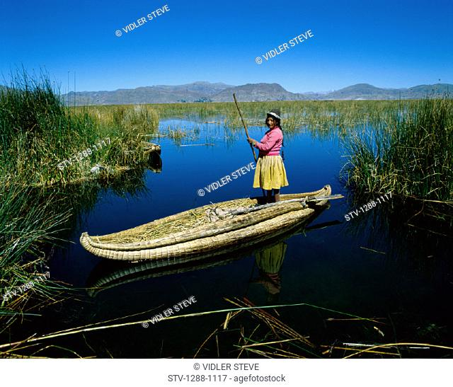 Boat, Canoe, Holiday, Indian, Lake, Landmark, Man, Peru, South America, Swamp, Titicaca, Tourism, Travel, Uros, Vacation