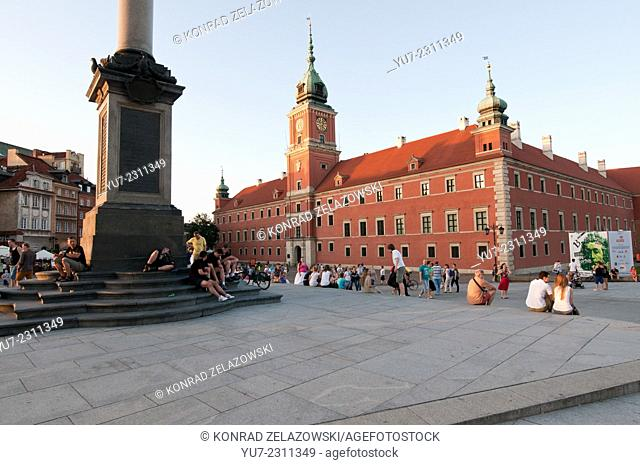 king Sigismund III Vasa Column and Royal Castle on Old Town in Warsaw, Poland